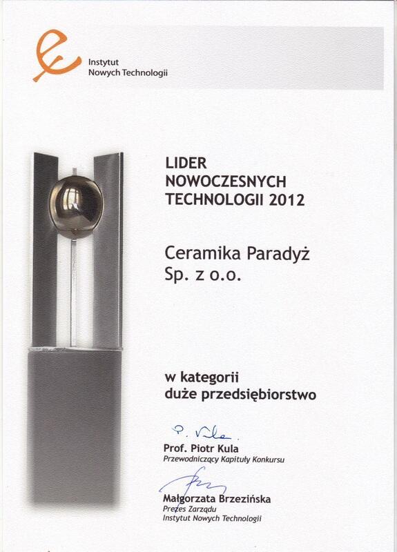 Ceramika Paradyż Liderem Nowoczesnych Technologii 2012