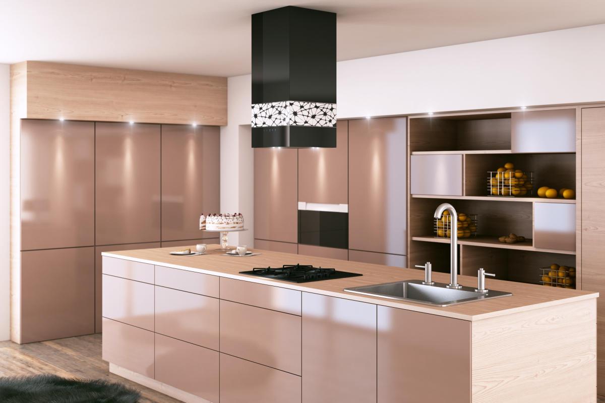 Czarno biała elegancja – dekoracyjny okap wyspowy KR Glass  WNĘTRZE I OGRÓD -> Biala Kuchnia Czarny Okap