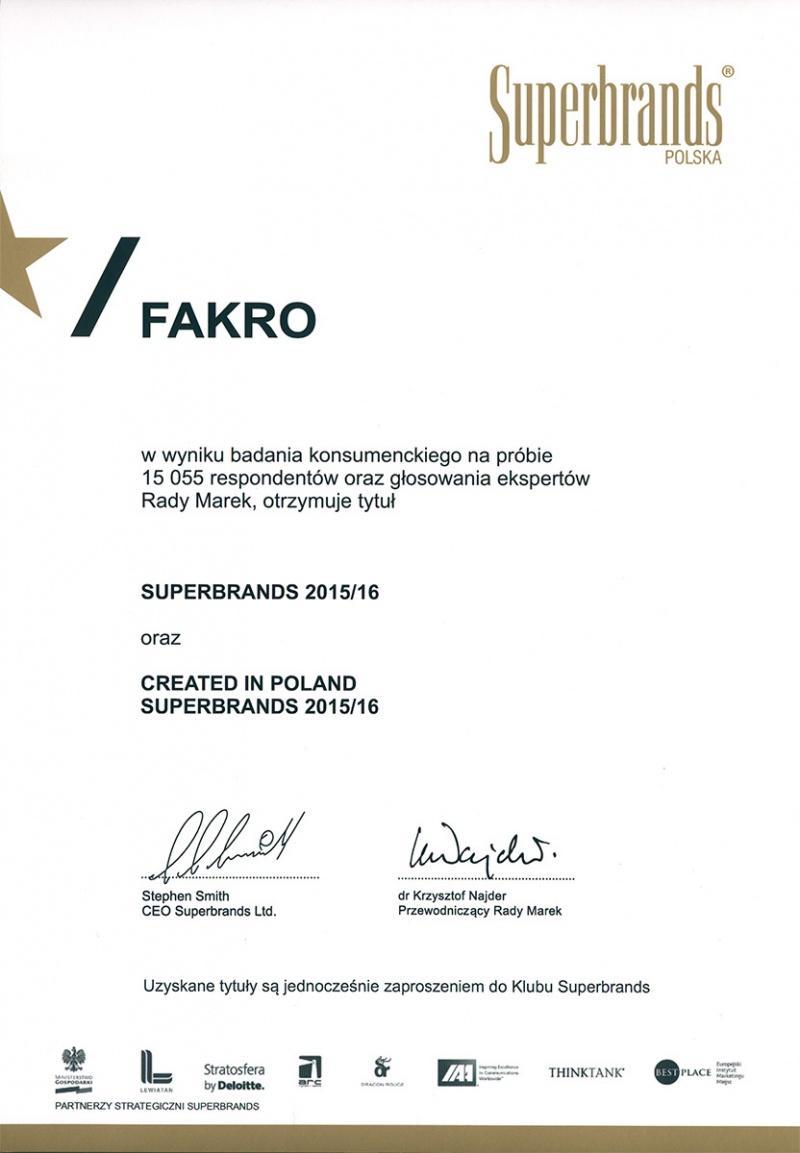 FAKRO jedną z najsilniejszych marek na polskim rynku