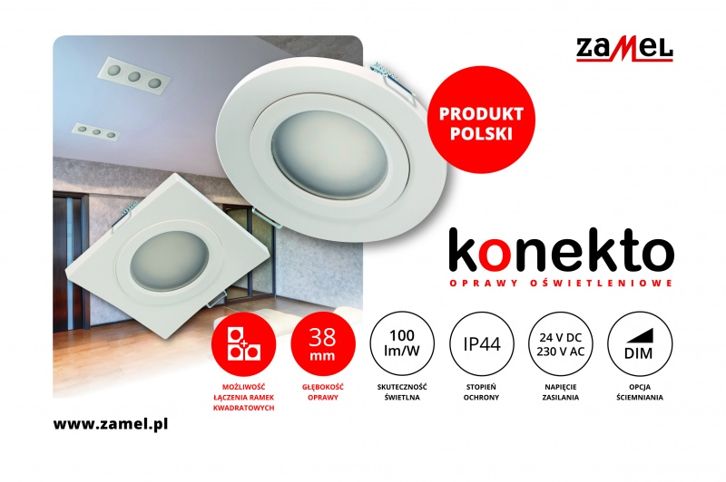 Linia opraw sufitowych LED KONEKTO – nowość w ofercie firmy ZAMEL