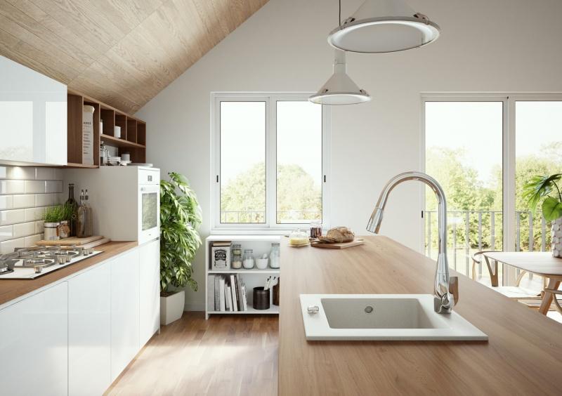 Odcienie bieli i szarości w kuchennych wnętrzach