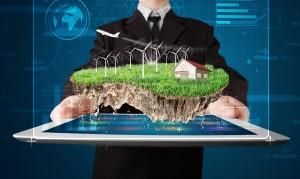Businessman presenting aperfect ecology land with ahouse and w