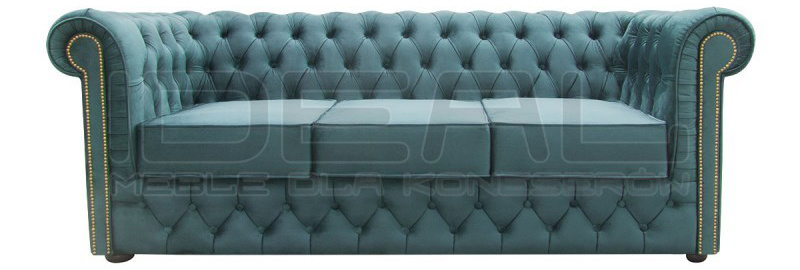 Sofa rozkładana Chesterfield Normal z funkcją spania Ideal Meble do spania codziennego.
